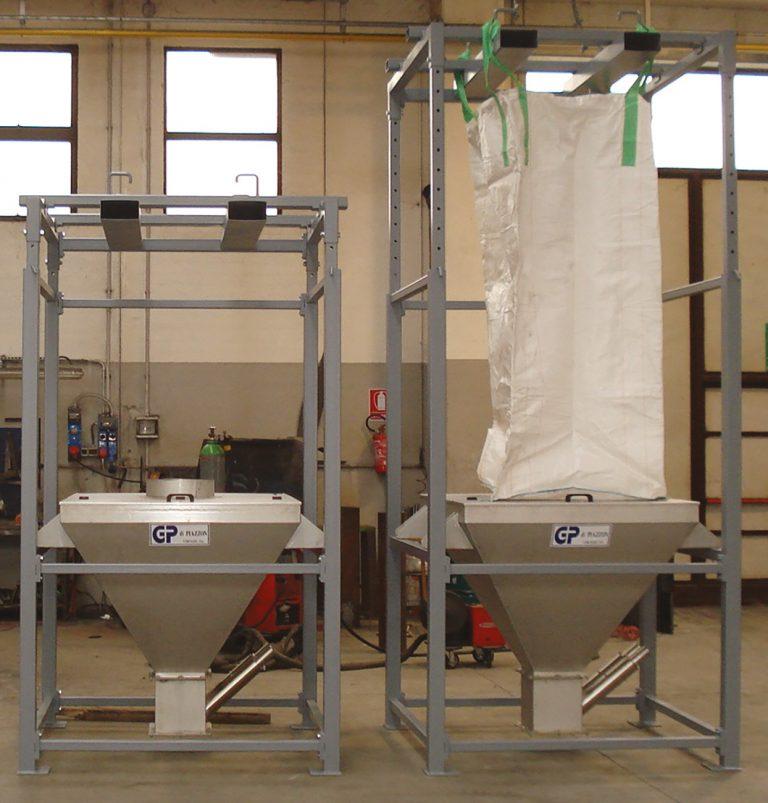Vidange big bag avec chargeur élévateur pour silo mélangeur vertical recyclage plastique