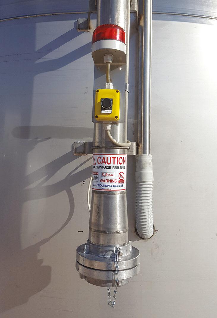 Alarme de remplissage sur tuyau silo mélangeur vertical recyclage plastique